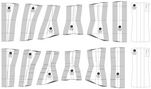 Underbust corset pattern diagram in black and white