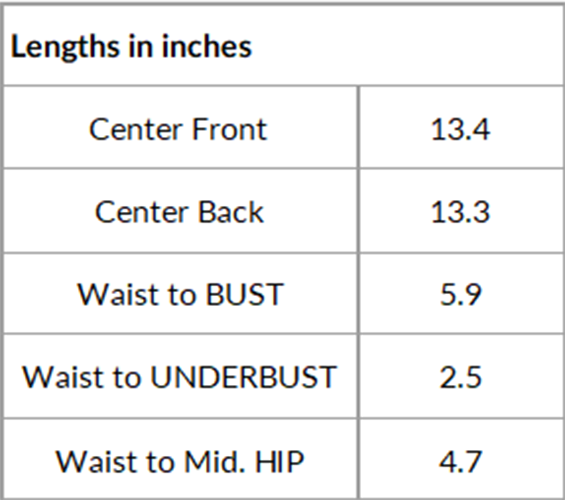 Size chart of lengths for overbust corset pattern HOPE in inches