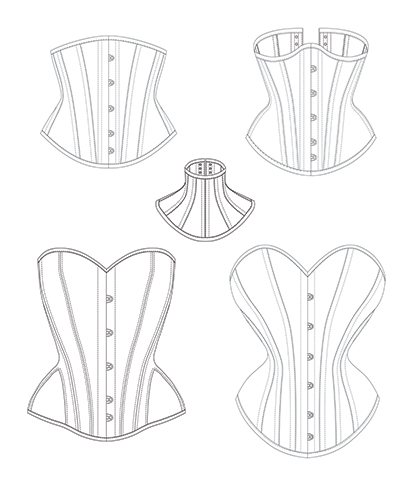 Picture with black and white technical drawings of corset diagrams and finished corset projects. Corset patterns featured are available free for download in PDF format. They are also multisized