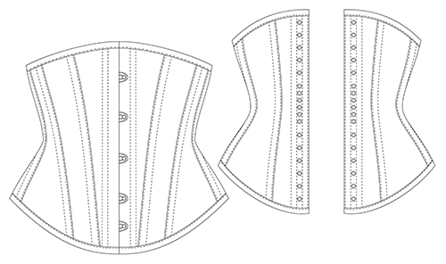 Lolita corset diagram front & back