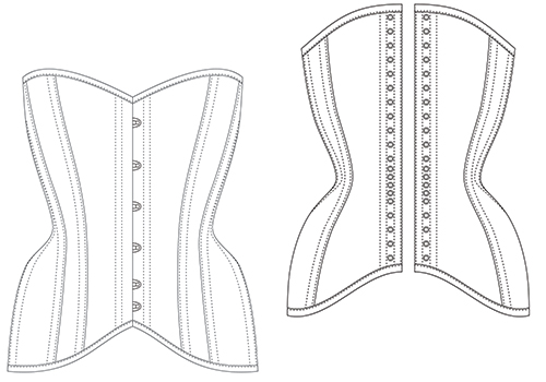 Overbust TESA corset diagram for envelope 500