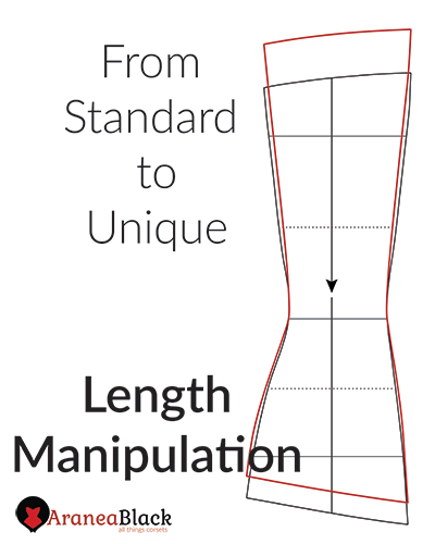 tutorial on how to change the length of a corset pattern