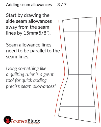 drawing side seam allowances