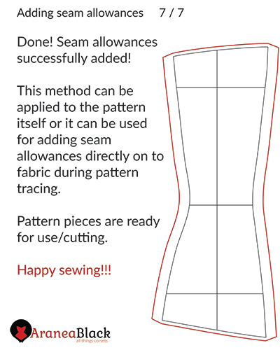 Seam allowances added to a corset pattern.