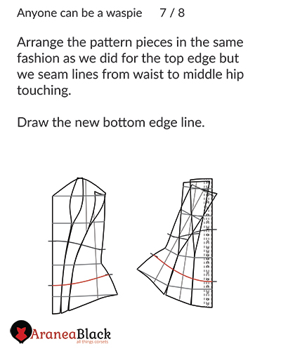 How to prepare your corset pattern to draw the new bottom edge of your waspie