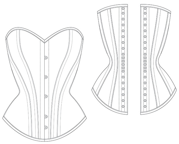 Overbust DOLORED multi sized corset pattern