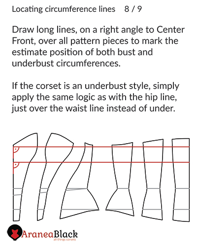 Marking the bust and underbust lines on a corset pattern