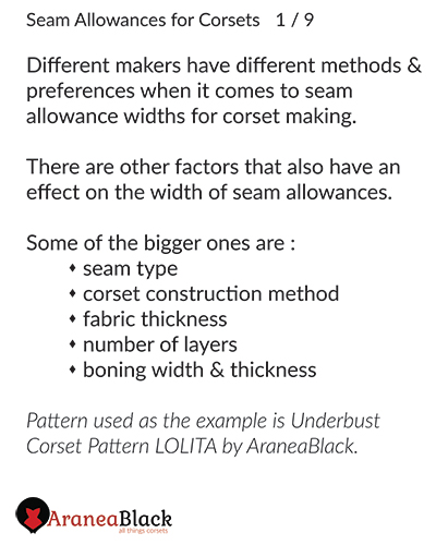 Introduction on planing seam allowances for corsets