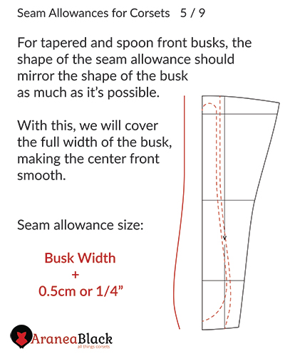 Instructions on adding seam allowances for a tapered or spoon corset busk