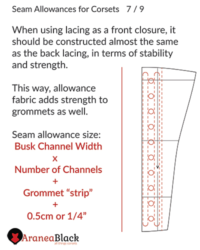 Width of seam allowances for when using front lacing on a corset