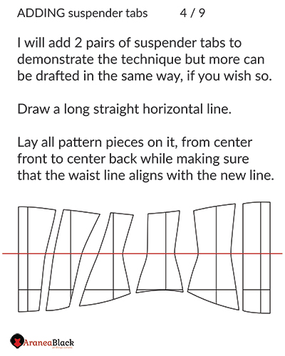 Preparing the corset pattern for adding of suspender tabs