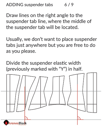 Drawing the center line for the suspender tabs