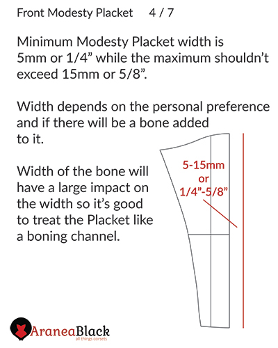 Size of the Modesty placket