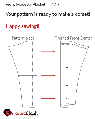 End of the tutorial and the demonstration of the look of the pattern piece and finished sewn placket size