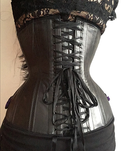 Underbust corset pattern ALLY black leather back side