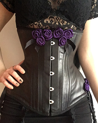 Underbust corset pattern ALLY black leather front
