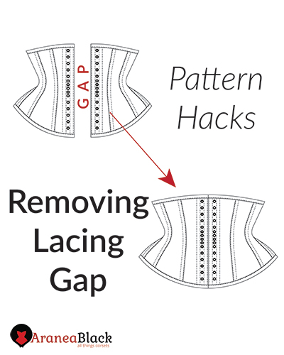 Tutorial on how to remove a back lacing gap on a corset pattern