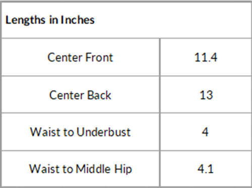 Lengths in inches for underbust corset pattern ally