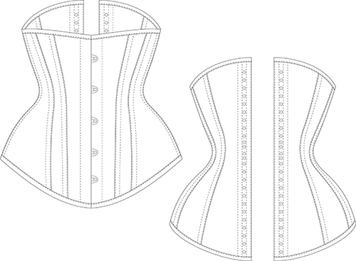 Black and white line diagram of the front and back view of the underbust corset pattern ALLY