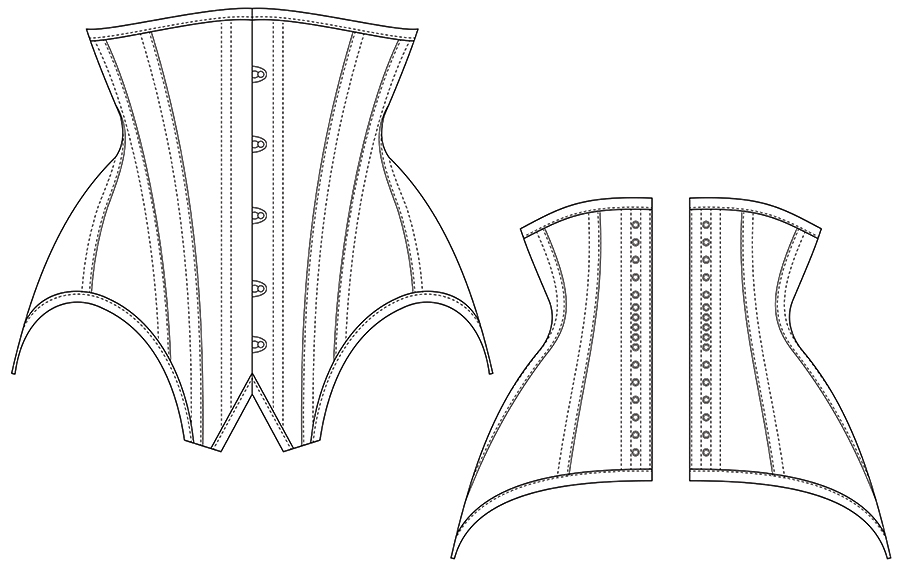 Black and white line diagram of the front and back view of the edwardian underbust corset pattern IRIS