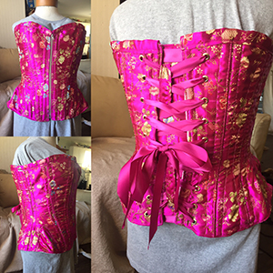 Pink and gold brocade overbust corset based on corset pattern ERIN