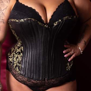 black leather and black and gold brocade overbust corset based on corset pattern HOPE