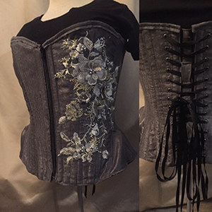 Dark gray overbust corset with lace detail based on corset pattern ERIN