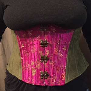 Pink and green underbust corset based on corset pattern LOLITA