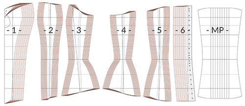 Overbust corset pattern IVY diagram showing all pattern pieces