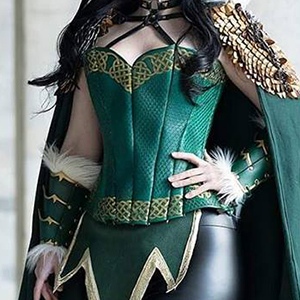 Cosplay costume of Loki with a leather overbust corset based on corset pattern ERIN