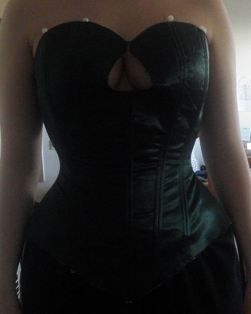 Green mockup of an overbust corset pattern IVY