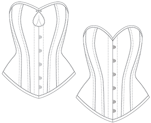 Overbust corset pattern IVY diagram showing the shape