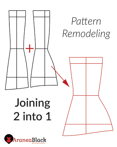 tutorial on how to join two corset pattern pieces into one
