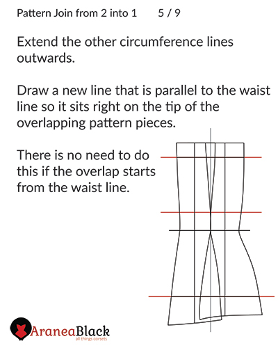 Extending and adding circumference lines on to the corset pattern pieces