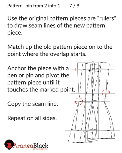 Drawing the new seam lines on the joined corset pattern piece