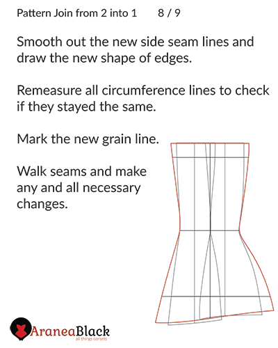 Smoothing the new seam lines of the joined pattern piece as well as making new edge lines