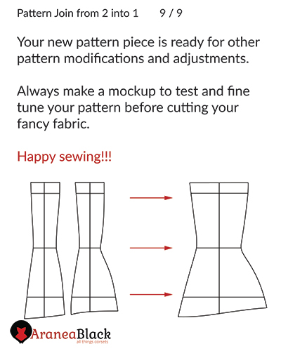 Ending of the tutorial on how to join two corset pattern pieces into oneo