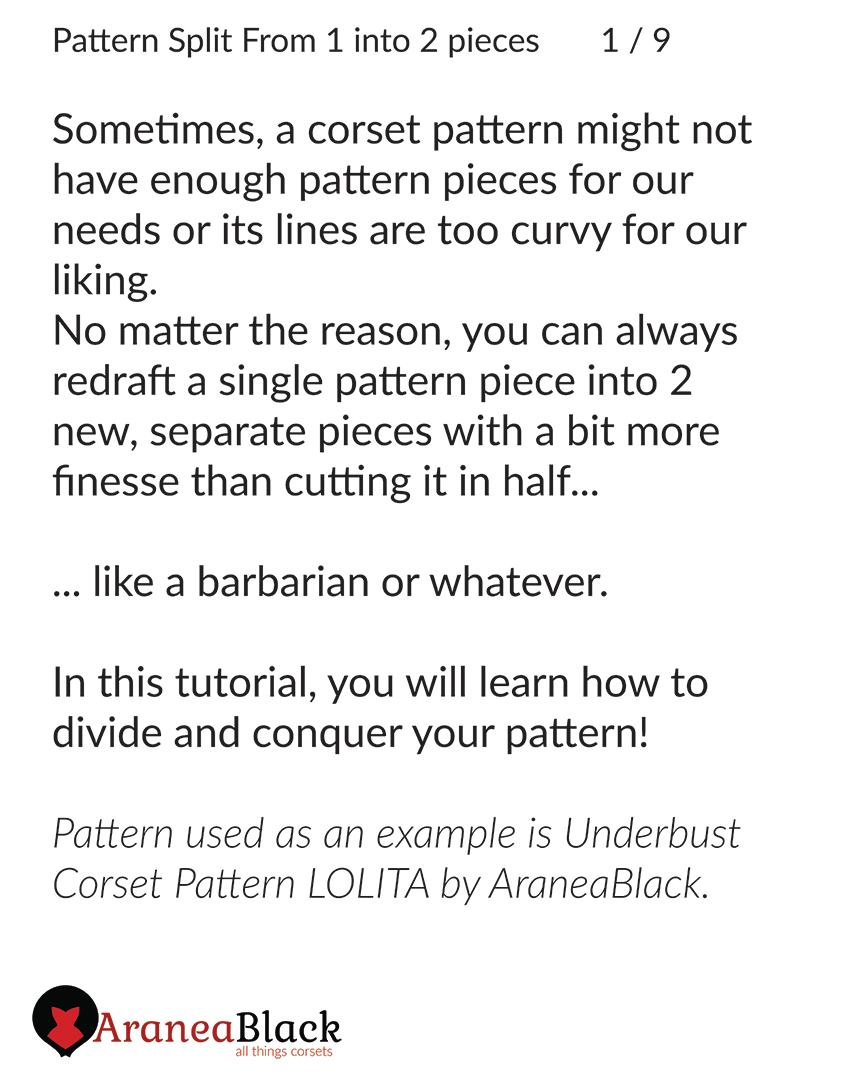 Introduction to the tutorial on how to split one corset pattern piece into two