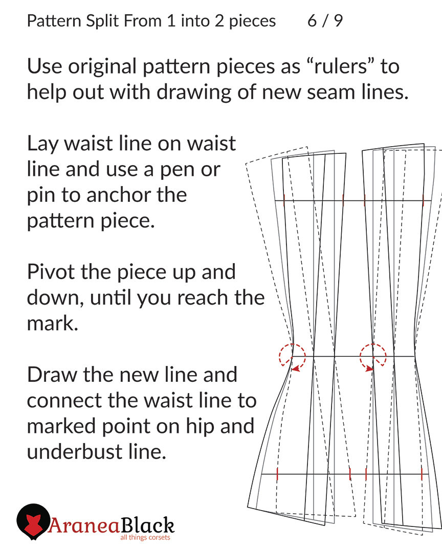 Pivoting the original pattern piece to create new corset pattern lines