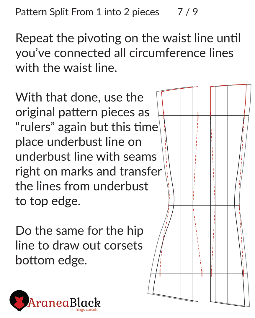 Positioning the top and bottom edge of the corset pattern piece for transfer