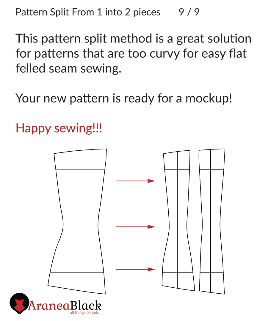 End of tutorial on how to split one corset pattern piece into two