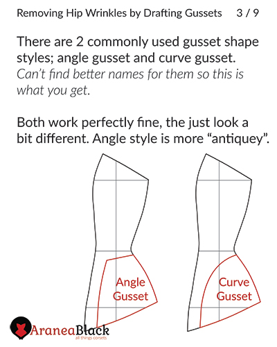Two different types of corset hip gusset styles