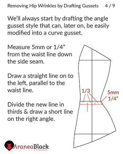 Preparing the pattern for drawing the corset hip gusset