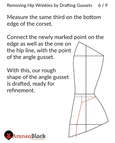 Corset hip gusset outline drawn