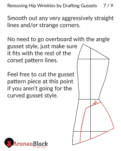Angle hip gusset corset pattern piece drafted gusset