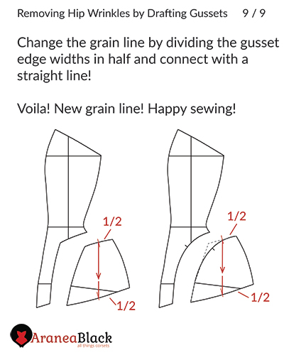 Hip corset pattern gusset drafted and grain line realigned