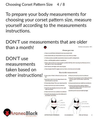 Importance of following measuring instructions when choosing a corset pattern size