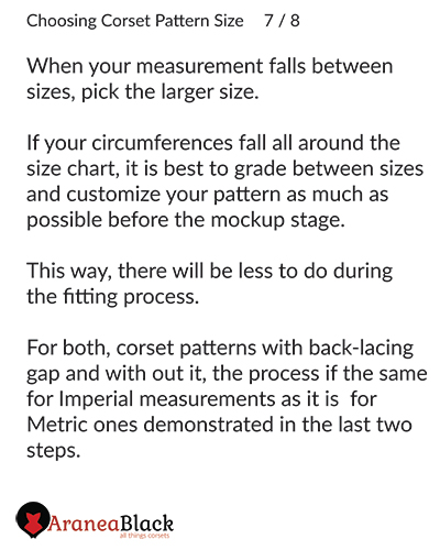 More details and instructions on how to choose a corset pattern size