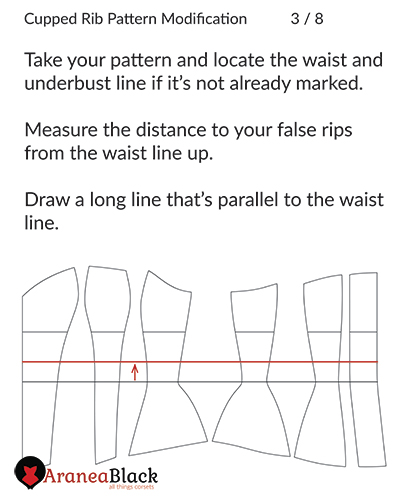 Drafting the position of lase rib pair onto corset pattern