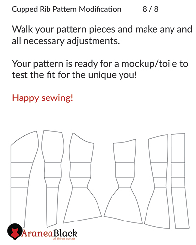 End of the tutorial on how to draft cupped rib corset pattern modifications